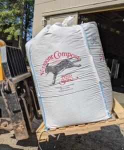 This year, I decided to use compost-based potting soil mix from the Vermont Compost Company in Montpelier, Vermont. This soil is specifically developed for organic gardening. It is a germination and growing mix often used for soil blocks - this is a two yard sling of Fort Vee potting mix.