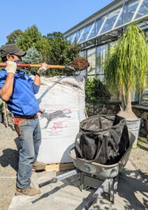 Dawa scoops the potting mix into one of my Multi-Purpose Heavy-Duty Garden Tote Bags – available on Amazon. These bags can hold more than 900-pounds - the crew uses them every day around the farm.