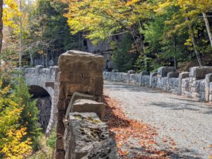 One of the last bridges to be completed was Cliffside Bridge, constructed for the Around-Mountain carriage road to traverse a section of steep cliffs under Penobscot Mountain. Built in the style of an English castle, this bridge is also the longest at 250 feet.