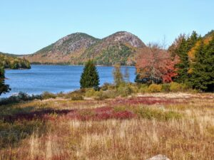The Jordan Pond Bubbles are so prominent in the Acadia National Park landscape. The North Bubble on the left has the highest elevation at 872 feet. The South Bubble follows at 766 feet.