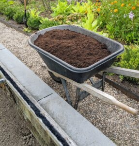The mix is very dark and fine. It is a blend of composted manure and plant materials.