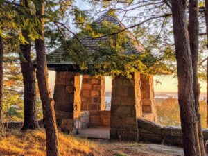 This photo shows the charming Ox Ledge gazebo next to the overlook garden.