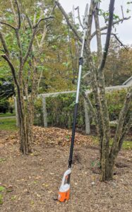 Chhiring uses this telescoping pole pruner from STIHL. It has a quiet, zero-exhaust emission, and is very lightweight. Plus, with an adjustable shaft, the telescoping pole pruner can cut branches up to 16 feet above the ground.