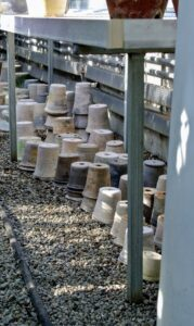And here are some some more containers – Guy makes all of them himself – they are just stunning. During a visit to my farm a few years ago, Guy said my collection is definitely the largest one he has ever seen of his pottery.