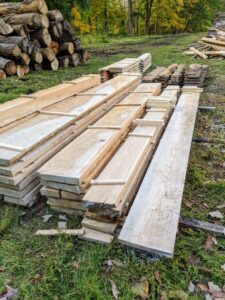 Here is a pile of beautiful milled boards. All these cut pieces are level and perfectly measured. I am so glad to be able to use all this wood - there is no need to waste any of it.