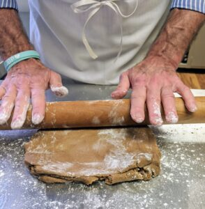 Robert explains that the important thing to remember when making any rolled cookie is not to over-process the cream and butter, which could aerate the mixture too much and cause the cookies to spread.