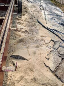 A lot of sawdust is generated during the process - thankfully, it was not a windy day.