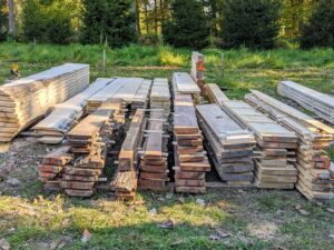 I had all different species of wood milled into what is called dimensional lumber - black walnut, white oak, ash, spruce, cedar and others - all milled into planks or square boards.