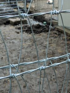 It is a V-mesh weave fence fabric. It has a continuous weave pattern, so cut wire ends don't harm the animals. It also provides very effective predator control. The high quality galvanized wire with durable zinc coating resists weathering as well as wear and tear - it's perfect for the chicken yard, but can also be used for horse and cattle enclosures.