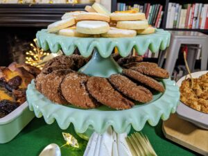 These cake stands are among my favorites. The set of two comes with one 8 inch and one 10 inch Jadeite Ruffle Cake stands. Stack them up for cookies or use each one for a holiday cake or tart.
