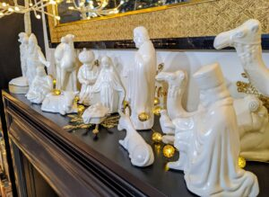 Another big seller is my 14 Piece Ceramic Nativity Set. This quaint set is fully detailed and thoughtfully designed. It includes Baby Jesus, Mother Mary and Joseph, three camels, two cows, and other characters.