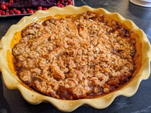 Here is our Pink Lady Apple Crisp - this crisp just fills the kitchen with the aroma of apples, brown sugar and warm spices. Serve this with whipped cream or a scoop of vanilla ice cream.