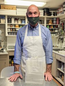 "Here is Robert in his working kitchen. It is a small space, so he remained masked for safety. Robert worked as successful business professional before he pursued his passion for baking. He trained at the renowned Peter Kump's New York Cooking School, now The institute of Culinary Education, and was mentored by notable chocolatier Jacques Torres. He's also been on my television show, ""Martha Bakes,"" and he's joined me in my own kitchen for a special baking Facebook LIVE."
