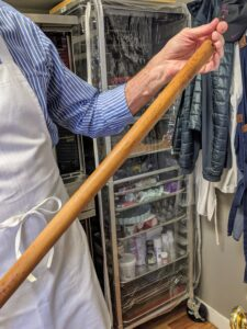 "Because of its size - 36 inches - this rolling pin was kept hung behind the door. It belonged to Robert's mother who was an avid baker who taught and inspired Robert from an early age. Robert says, ""she's always with me when I bake."""