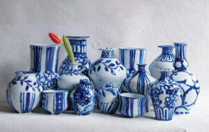 Among her works, Frances makes beautiful pieces painted with cobalt. She starts by penciling her designs right onto the clear-glazed pots before adding the paint and then firing in the kiln - the results are breathtaking. (Photo by Frances Palmer)