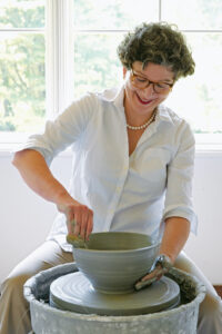 Here is an image of Frances at her potting wheel. Frances has been a potter for more than 30 years. Her crafts have been featured in my magazines, on my television shows, and carried by countless retail shops.