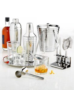 Mix, measure, shake, strain, slice and serve like a master mixologist with the Martha Stewart Collection's sleek stainless steel bar tool set from Macy's - it has everything you'll need to make all your favorite holiday cocktails.