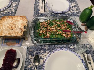 Here's the table with a couple of all-time favorites, sweet potato and marshmallows, and green beans.