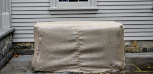 Here they are all wrapped for the cold weather. Burlap is so useful for many gardening projects – it is inexpensive, biodegradable, and the color and texture of burlap is so pretty to use.