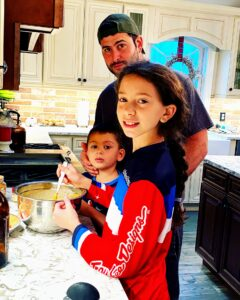 Every year, Stella's husband, Frank, their daughter, Sofia, and their son, Dallas, make a pumpkin pie.