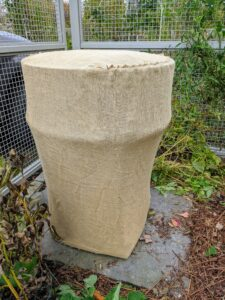 This urn is one of a pair of stately Kenneth Lynch garden urns flanking the entrance to the flower cutting garden. They are more than 500-pounds each. The pair is usually one of the first to get wrapped in burlap before each cold season.