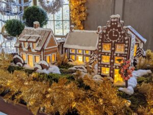 And then back in my Winter House Brown Room - the finished gingerbread village.