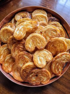 I made these gorgeous palmiers, also known as pig's ears, palm hearts, or elephant ears. These are French pastries made in a palm leaf shape or a butterfly shape. My guests loved these so much, they were gone before I got to even taste one myself.