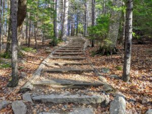 These steps lead to the the carriage road to Jordan Pond House, a restaurant and shop that sits on a hill overlooking a beautiful lawn along the Jordan Pond. Guests have dined at the site since 1893 when Nellie McIntire, the first proprietor, started baking and serving her famous popovers out of the restaurant.