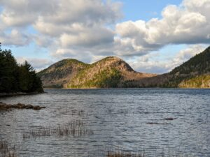 """These are the famous """"Bubbles"""" of Acadia National Park. The North Bubble, which is the left mountain, has the highest elevation at 872 feet. The South Bubble follows at 766 feet."""