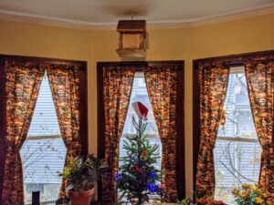 Cheryl is very talented and loves sewing and crafts projects. This year, she brought her son some handmade curtains for their living room windows - they are decorated with a Thanksgiving pilgrim theme for the occasion.