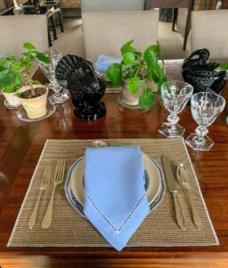 On top of the plates, light blue linen napkins. As part of the table setting, I placed small pots of the Chinese Money Plant, Pilea peperomioides.