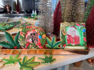 "On this day I appeared LIVE from my Bedford, New York farm kitchen. My Winter House counter was filled with holiday decor and interesting cookies such as these two featuring me and my ""Potluck Dinner Party"" co-host, Snoop Dogg. The cookies were made by @bakerofblackrock."