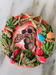 Snoop's cookie expertly depicts Snoop on a wreath dedicated to his love for - yes, smoking blunts.