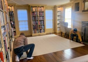 Once the padding is unrolled, it is stretched flat.