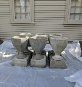 These pots are quite heavy - too heavy to move indoors for the season, so they get wrapped up just like the bigger urns.
