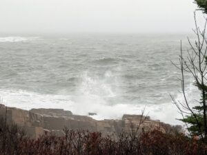 On this morning, the waves were very strong, crashing into the rocky landscape with great force.