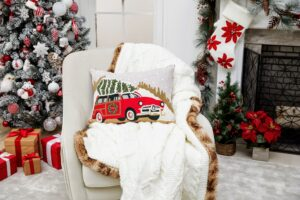 This Sweater Knit Faux Fur Trim Throw was created especially for Macy's. It adds a fun and whimsical look to any room.