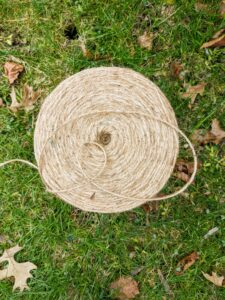 "The great ""burlapping"" project requires rolls and rolls of jute twine."