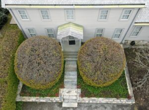 The drone also captured this closer view of the front of the Summer House and the deciduous round hornbeams, Carpinus.