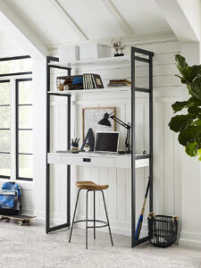 This is The Everyday System™ four-foot Home Office available at California Closets. Streamline any workspace and create an inviting home office with my wall-mounted components. This desktop includes a drawer and two shelves, and a modular design for customization.