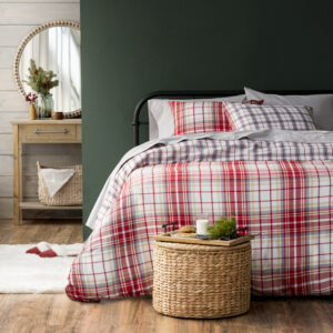 You can shop Target for this queen-sized three-piece Drummond Flannel Duvet Cover Set. This handsome plaid duvet cover set features plush Portuguese flannel.