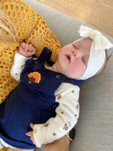 Executive Producer at Big Fish Productions, Taylor Lucy, shares this photo of her niece, Caroline, on her first Thanksgiving - quite a tired turkey!