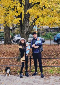 Jacqueline Reshef, Vice President at Neuberger Berman, submitted this photo of her husband, Eitan, their seven-month-old twins, Lev and Eilon, and their dog, Malcolm. It was taken during a stroll in New York City - they only removed their masks for the photo.