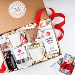 This Martha Stewart Holiday Morning Cozy Warm Beverage Assortment Gift Box is also available on Amazon. It includes Martha's Blend Coffee, hot chocolate, and tea. Great as a gift, or to enjoy right at home with your family.