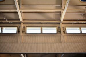 Natural light also comes through these windows near the ceiling.