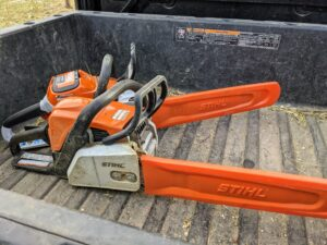 Our STIHL chainsaws are used all throughout the year on the farm. It is crucial these tools are always sharp and ready to use. STIHL's most well-known tool is the chainsaw. STIHL designed and built its first electric chain saw in 1926 and 94 years later, it is still one of its best pieces of equipment. We use both gas-powered and battery-powered chainsaws.