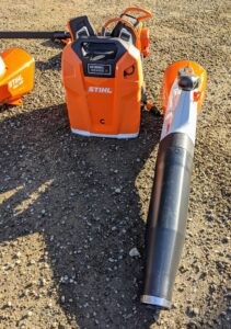 This is STIHL's backpack battery and hand blower. The backpack battery eliminates the cost of fuel and engine oil and can be used with several other useful accessories.