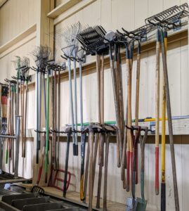 All the garden tools are hung on sturdy hooks. Especially during this pandemic, it is important that each tool is wiped down thoroughly after every use. We take all the necessary precautions here at the farm, and thankfully it has helped to keep everyone safe.