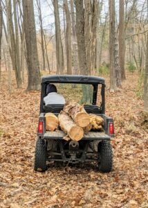 Here's Pete taking another load away to the designated spot for pick-up. The woods look so much better already, but there is always a lot to do through the winter if the weather cooperates.