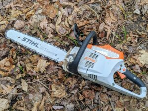 Pete uses this STIHL battery operated chainsaw. This tool uses a strong 36-volt Lithium-Ion battery. It is significantly quieter than the gasoline-powered chainsaws and starts instantly with the squeeze of a trigger.